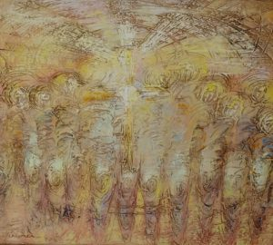 Abstract painting depicting the Eucharist