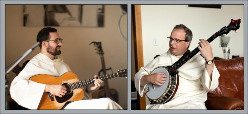 Two images of Dominicans: on the left, one sitting, smiling, and holding a guitar; on the right, one sitting and playing a banjo.